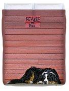 Bernese Mountain Dog Alertly Guarding Home. Duvet Cover