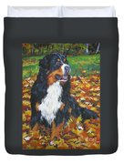 Bernese Mountain Dog Autumn Leaves Duvet Cover