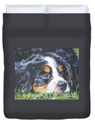 Bernese Mountain Dog In Grass Duvet Cover
