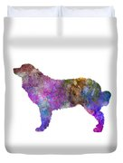 Bernese  Mountain Dog In Watercolor Duvet Cover