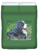 Bernese Mountain Dog In Wildflowers Duvet Cover