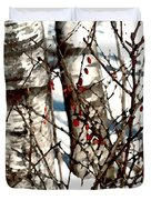 Berries And Birches Duvet Cover