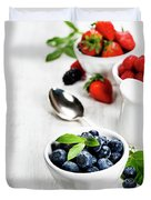 Berries In Bowls  On Wooden Background. Duvet Cover
