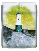 Berwick Lighthouse As Graphic Art. Duvet Cover