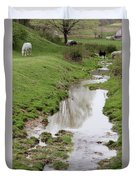 Beside The Still Waters Percherons Duvet Cover
