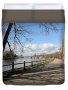 Beside The Thames At Hampton Court London Uk Duvet Cover
