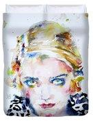 Bette Davis - Watercolor Portrait Duvet Cover