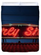 Beverly Shores Indiana Depot Neon Sign Panorama Duvet Cover