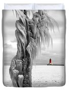 Beyond The Ice Reaper's Grasp -  Menominee North Pier Lighthouse Duvet Cover