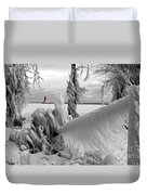 Beyond The Icy Gate - Menominee North Pier Lighthouse Duvet Cover