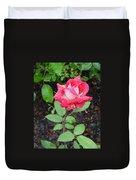 Bi-colored Rose In Rain Duvet Cover