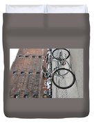 Bicycle And Building Duvet Cover