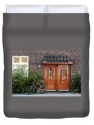 Bicycle And Wooden Door Duvet Cover