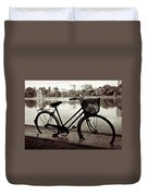 Bicycle By The Lake Duvet Cover