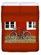 Bicycle In Front Of Red House In Sweden Duvet Cover