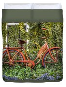 Bicycle In The Garden Duvet Cover