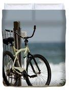 Bicycle On The Beach Duvet Cover by Julie Niemela