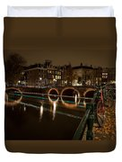 Bicycle Parked At The Canals Duvet Cover