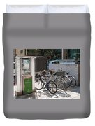 Bicycle Parking And Smoking Station In Tokyo Japan Duvet Cover