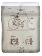 Bicycle Patent Drawing 4a Duvet Cover