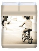 Bicycle Rider Duvet Cover