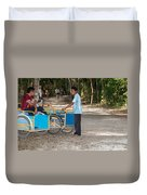 Bicycle Taxi Inside The Coba Ruins  Duvet Cover