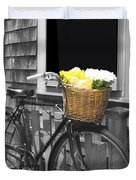 Bicycle With Flower Basket Duvet Cover