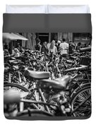 Bicycles Amsterdam Black And White Duvet Cover