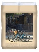 Bicycles On Main Street Duvet Cover