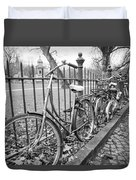 Bicycles Parked At Fence On Street, Netherlands Duvet Cover