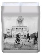 Bicycling, 1880s Duvet Cover