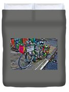 Bicycling For Peace Duvet Cover