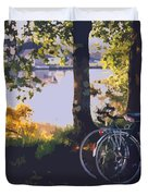 Bicyles By The Lake  Duvet Cover