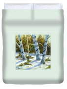Big Birches In Winter Duvet Cover
