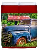 Big Blue Chevy At The Farm Duvet Cover