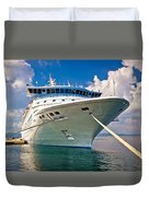 Big Docked Cruise Ship View Duvet Cover