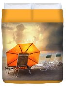 Big Orange Beach Umbrella Watercolor Painting Duvet Cover