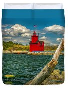 Big Red Lighthouse In Michigan Duvet Cover