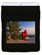 Big Red Lighthouse Duvet Cover