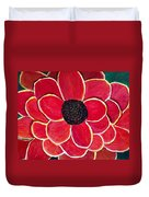 Big Red Zinnia Flower Duvet Cover
