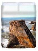 Big Rocks In Grey Water Painting Duvet Cover
