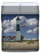 Big Sable Lighthouse Under Cloudy Blue Skies Duvet Cover