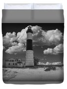 Big Sable Lighthouse Under Cloudy Skies Duvet Cover