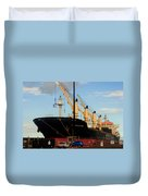 Big Tanker In The Harbor Duvet Cover