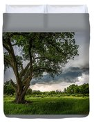 Big Tree - Tall Cottonwood And Storm In Texas Panhandle Duvet Cover