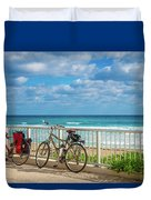Bike Break At The Beach Duvet Cover