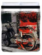 Bike Flat Tire Abandoned India Rajasthan Blue City 2a Duvet Cover