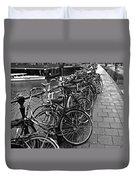 Bike Parking -- Amsterdam In November Bw Duvet Cover
