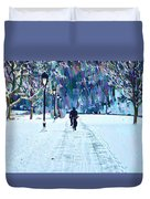 Bike Riding In The Snow Duvet Cover
