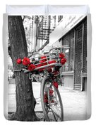 Bike With Red Roses Duvet Cover